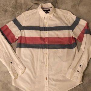 TOMMY HILFIGER slim fit white button down shirt M